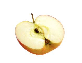 Half an apple on a white background