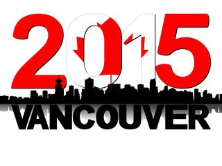 Vancouver skyline 2015 flag text illustration
