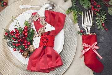 Christmas eve festive table place setting