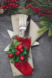 Fototapety Christmas stocking place settings with festive decorations