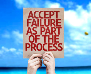 Accept Failure As Part Of The Process card with a beach