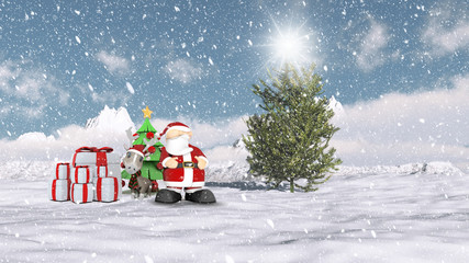 Santa in a Christmas winter scene
