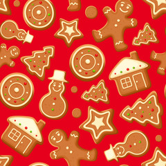 Seamless background with gingerbread cookies. Vector.