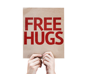 Free Hugs card isolated on white background