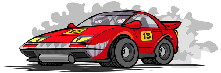 Cartoon race car.