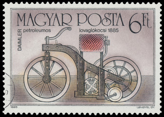 Stamp printed in Hungary shows Daimler