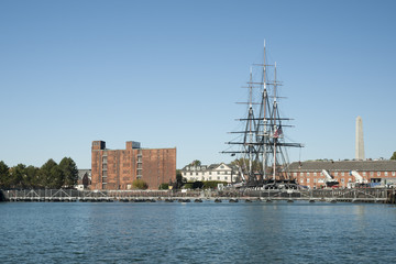 USS Costitution moored in Boston Harbor