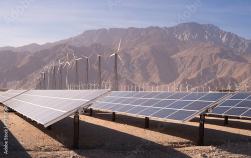 Clean Green Energy Wind Turbines Desert Solar Power