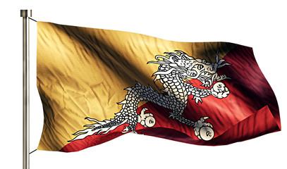 Bhutan National Flag Isolated 3D White Background