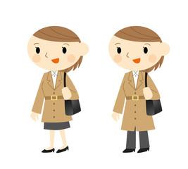 コートの女性