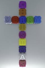Cubo scritta Buon Natale simbolo croce