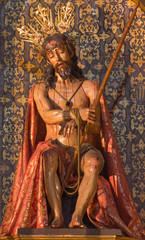 Seville -  The carved polychrome statue of Jesus in bond