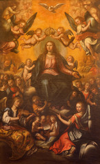 Seville - paint Coronation of Virgin Mary in EL Salvador church