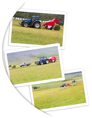 travaux des champs, fenaison mécanique sur photos