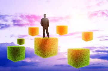 businessman on futuristic background sky