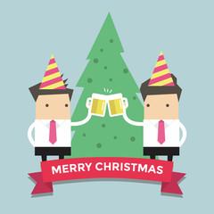Merry Chirstmas businessmen toasting glasses of beer vector