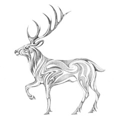 The stylized image of the forest deer