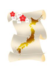 日本地図と梅の花