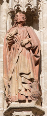 Seville - statue of St. John the Evangelist on the Cathedral