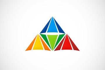 abstract pyramid geometry color logo vector
