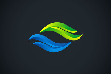 abstract water wave ecology nature logo vector