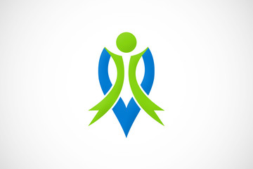 green people fitness spa abstract logo vector