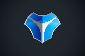 shield secure technology abstract logo vector