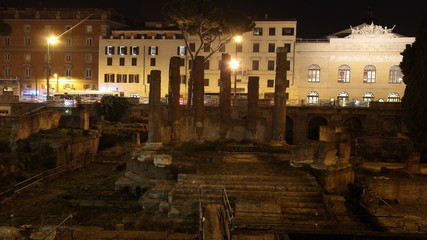 Roman ancient ruins in Largo di Torre Argentina, Rome, Italy