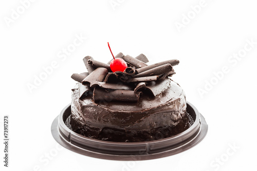 Fototapeta Chocolate cake isolated on white background.