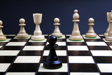 Black pawn and white chess on the chess board