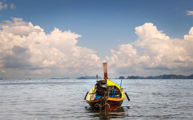 Wooden motor boat on the sea