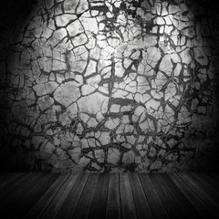 grunge interior with cracked wall
