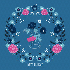 Birthday card design with flower wreath