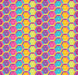 Seamless background with colorful honeycombs