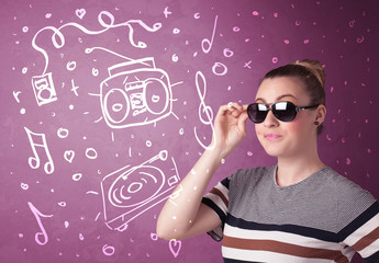 Happy funny woman with shades and hand drawn media icons