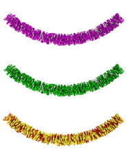 Decorative tinsel in different colors isolated