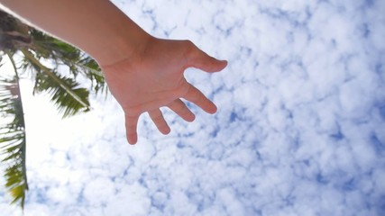 Hand of a Man Reaching to Towards Sky.
