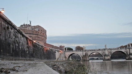 Castle of Holy Angel and the Holy Angel Bridge in Rome