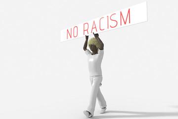 Ragazzo con cartello no racism