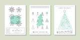 Fototapety Hipster Christmas greeting card design with flat line icons