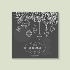 Hipster Christmas greeting card design with geometric ornaments