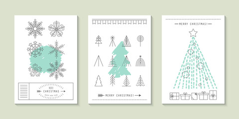 Hipster Christmas greeting card design with flat line icons