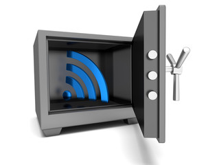 Abstract image symbol wi-fi in the safe. Illustration. 3D