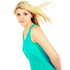blonde girl in a summer dress