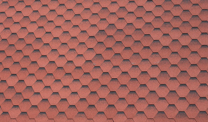 Part of soft roof from synthetic red hexagons as background