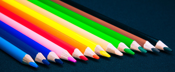 Isolated colorful pencils