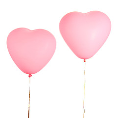 Love heart balloons, isolated on white