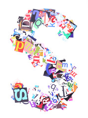 Letter S made of colorful newspaper letters isolated on white