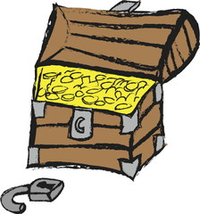 doodle treasure chest with golden coin