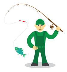 Fisherman on white background